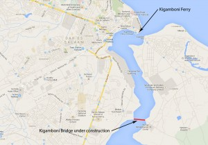 Map of Dar-es-Salaam showing the Kigamboni bridge location