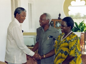 Nelson Mandela with President Nyerere and Mama Maria Nyerere during his visit to Tanzania after his release in 1990 (source http://ancarchives.org.za)