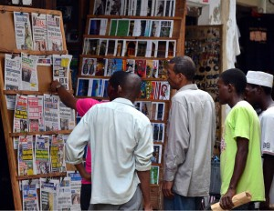 Newspapers on sale in Dar-es-Salaam