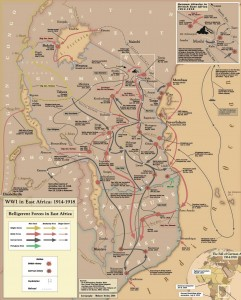 Map of the Great War in East Africa based on that by Mehmet Berker, wikipedia