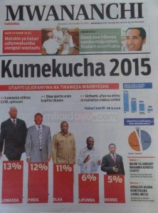 Mwananchi coverage of the opinion poll results (http://millardayo.com)