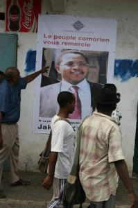 "Poster saying ""The people of the Comoros thank you"""