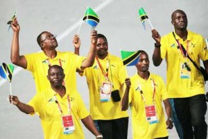 Tanzanian athletes at the Beijing opening ceremony