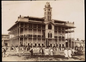 Sultan's Palace, Zanzibar with a crowd in the foreground circa 1893 - Winterton Collection of East African Photographs: 64-12