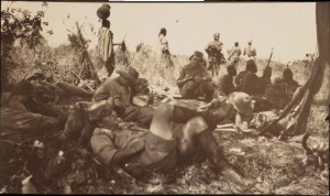 Machine gun in action, Bugaro, East Africa Campaign. Circa 1914-1918 - Winterton Collection of East African Photographs: 8-6-3