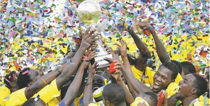 The Tanzanian team lift the CECAFA cup