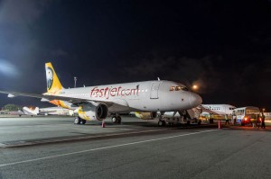 Fastjet FTZ1A (Airbus A319) shortly after landing in Dar es Salaam JNIA on its inaugural flight (Fastjet).
