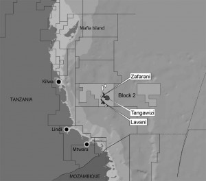 Map showing the Block 2 Licensing Area and locations of the gas discoveries Source: Statoil