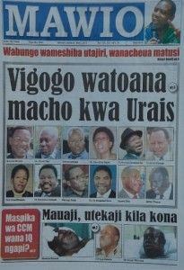 Newspaper cover featuring twelve people said to be eyeing the Presidency.