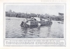 HMS Mimi on Lake Tanganyika being pushed off a sand bank - The Illustrated War News 1916 from www.africanbyways.co.za