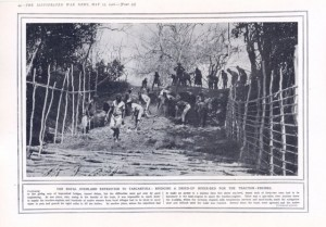 Bridging a riverbed while transporting HMS Mimi & Toutou to Lake Tanganyika  - The Illustrated War News 1916 from www.africanbyways.co.za
