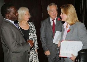 Prime Minister Pinda with Justine Greening (extreme right), British High Commissioner Dianna Melrose and the head of DfID Marshall Elliott