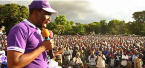 Zitto Kabwe addressing a rally of ACT-Wazalendo supporters