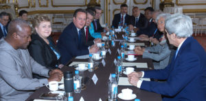 Prime Minister Kassim Majaliwa (fourth right) with Prime Minister Cameron at Lancaster House May 2016 (Photo: Prime Minister's Office)