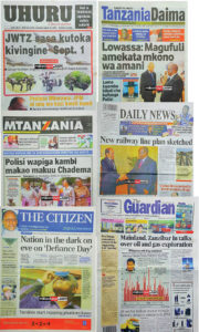 Selection of newspapers from Aug 30th, some referring to the planned Chadema protests on 1st September (images from millardayo.com)