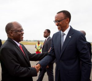 PHOTO President Magufuli greets Rwandan President Paul Kagame as he arrives in Dar-es-Salaam on his maiden state visit (Photo: State House)