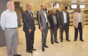 The CUF delegation with Seif Sharrif Hamad (second left) and Ismail Jussa (third left) arriving at Dules airport Washington DC on June 11.